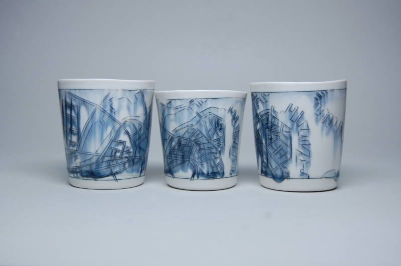 New work - Whiskey cups with maps of Boston!